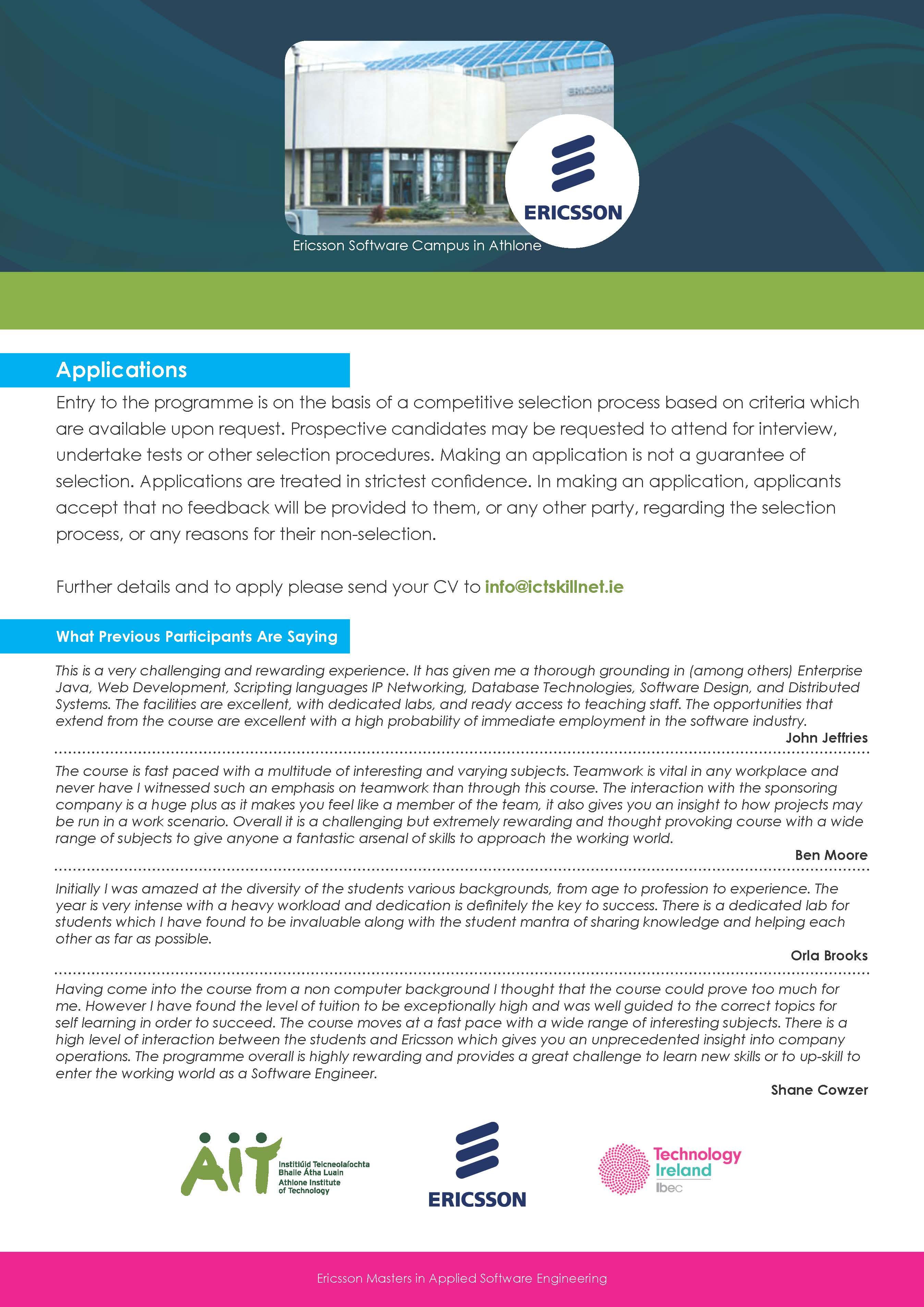 Ericsson MSc in Applied Software Engineering   Technology Ireland